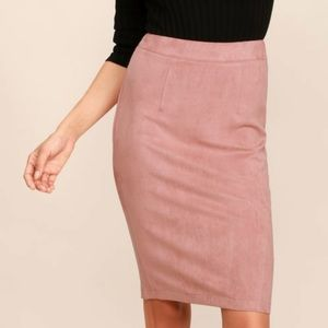 Lulu's Superpower Blush Suede Pencil Skirt, sz M.
